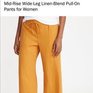 Mid- Raise Wide Leg Linen Blend Pull On Pants